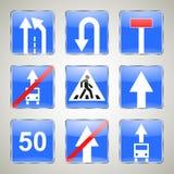 Комплект голубых дорожных знаков Стоковая Фотография