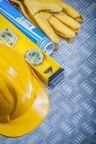 Комплект голубых светокопий строя constructio перчаток безопасности шлема Стоковые Фотографии RF