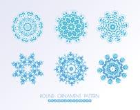 Комплект голубых снежинок вектора Стоковое Изображение RF