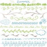 Комплект границы лета нарисованный рукой Стоковое Фото