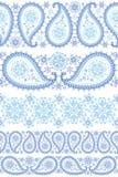 Комплект границы Пейсли зимы безшовный Стоковые Изображения