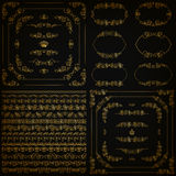 Комплект границ золота декоративных, рамка вектора Стоковое фото RF