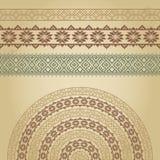 Комплект границ и полу-круглая с нордическими этническими орнаментами Стоковые Изображения RF