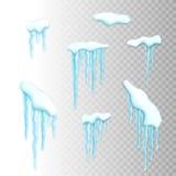 Комплект границ снега с сосульками Стоковые Фотографии RF