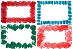 Комплект 4 границ brushstroke Стоковое Изображение