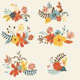 Комплект 6 графических флористических дизайнов Стоковые Фотографии RF