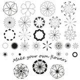 Комплект графических цветков Стоковое Изображение RF