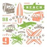 Комплект графических элементов Шина, занимаясь серфингом, акула Стоковая Фотография