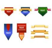 Комплект градиента красочных знаков и знамен Стоковые Изображения RF