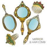Комплект 5 гребней зеркала и волос руки золота винтажных иллюстрация вектора