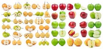 Комплект груши и яблока изолированных на белой предпосылке Стоковое Изображение RF
