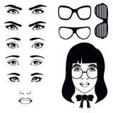 Комплект глаза, характер девушки иллюстрация вектора