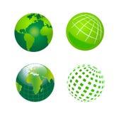 Комплект глобуса Iconsзеленого цвета вектора Стоковое Изображение RF