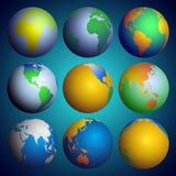 Комплект глобусов, вектор карты мира цвета Стоковые Изображения