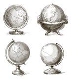 Комплект глобусов нарисованных рукой также вектор иллюстрации притяжки corel Стоковые Изображения RF