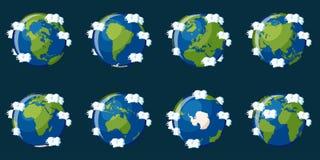 Комплект глобусов показывая землю планеты с различными континентами иллюстрация вектора