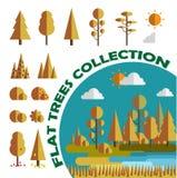 Комплект Деревья и кусты Плоский, игры, app также вектор иллюстрации притяжки corel изолировано Стоковая Фотография
