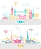 Комплект Европы и Азия путешествуют предпосылка с бесплатная иллюстрация