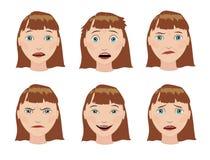 Комплект девушек эмоций Выражение на его стороне Стоковое Изображение RF