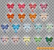 Комплект декоративных красочных смычков изолированных на прозрачной предпосылке также вектор иллюстрации притяжки corel Стоковое Фото
