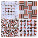 Комплект 4 декоративных ретро безшовных картин Стоковая Фотография RF