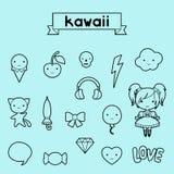 Комплект декоративных doodles kawaii элементов дизайна иллюстрация вектора
