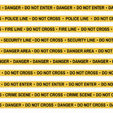 Комплект ленты желтого цвета места преступления, линии полиции, опасности, огня, не пересекает ленту Плоск-стиль шаржа также вект Стоковые Изображения RF