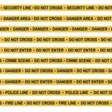 Комплект ленты желтого цвета места преступления, линии полиции, опасности, огня, не пересекает ленту Стоковое фото RF
