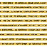 Комплект ленты желтого цвета места преступления, линии полиции, опасности, огня, не пересекает ленту Плоск-стиль шаржа также вект Стоковое Изображение RF