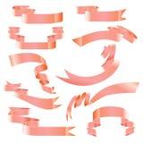 Комплект ленты знамен на белой предпосылке Стоковая Фотография RF