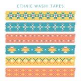 Комплект лент washi с ультрамодными картинами ацтека, мексиканца или Навахо, этническими бесплатная иллюстрация