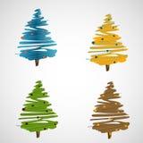 Комплект деревьев вектора на светлой предпосылке Стоковые Фото