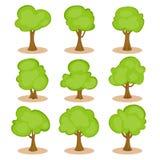 Комплект деревьев в нарисованном вручную стиле Стоковые Изображения RF