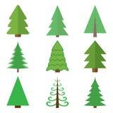 Комплект деревьев зеленого цвета рождества вектор изображения иллюстраций download готовый бесплатная иллюстрация