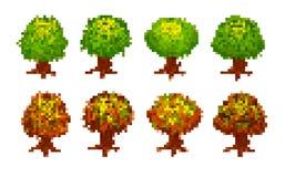 Комплект деревьев пиксела Стоковые Изображения