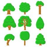 Комплект 9 деревьев пиксела Стоковая Фотография