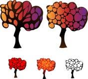 Комплект деревьев с кронами сердец Стоковые Изображения