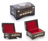 Комплект деревянной подарочной коробки от различных углов, деревянный комплект коробки изолированный на белизне Стоковые Изображения RF