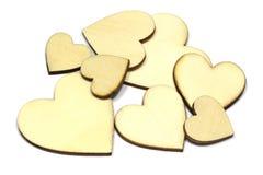 Комплект деревянной формы сердца изолированный на белой предпосылке Символ влюбленности простой стоковые фотографии rf