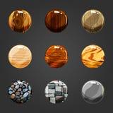 Комплект деревянных и каменных кнопок Стоковая Фотография