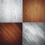 Комплект 4 деревянных картин предпосылки текстур Стоковые Изображения