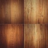 Комплект 4 деревянных картин предпосылки текстур Стоковое Изображение