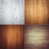 Комплект 4 деревянных картин предпосылки текстур Стоковая Фотография RF