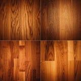 Комплект 4 деревянных картин предпосылки текстур Стоковые Фотографии RF