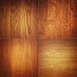 Комплект 4 деревянных картин предпосылки текстур Стоковые Изображения RF