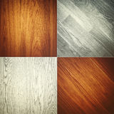 Комплект 4 деревянных картин предпосылки текстур Стоковое Изображение RF
