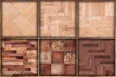 Комплект 6 деревянных картин предпосылки текстур Стоковое Изображение