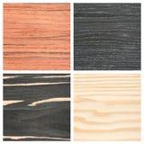 Комплект 4 деревянных предпосылок текстуры Стоковые Изображения
