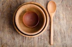 Комплект деревянных утварей Стоковое Фото