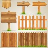 Комплект деревянных элементов для дизайна иллюстрация штока